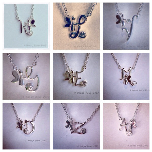 Angel Initial Pendants
