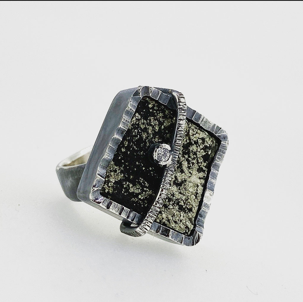 Slate and Pyrite Ring