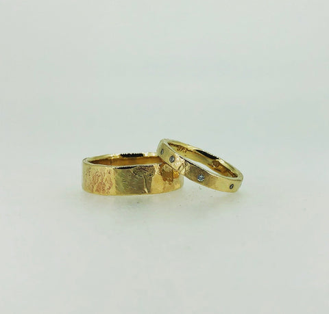 Rough Finish Wedding Rings