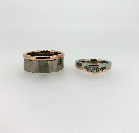 Platinum and Rose Gold Wedding Rings