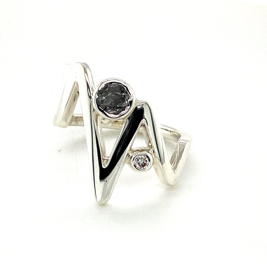 Rough Diamond Zig Zag Ring