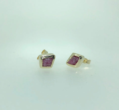 Rough Ruby Studs