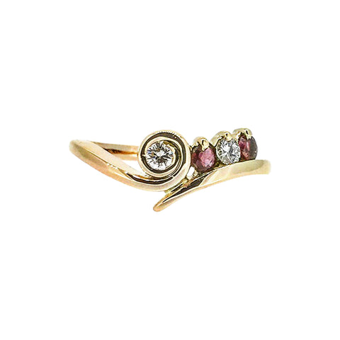 Diamond and Garnet Ring