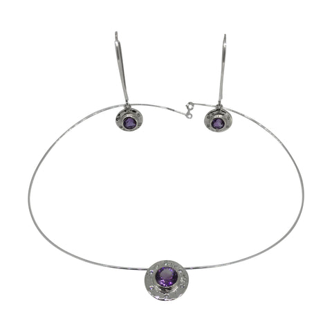 Amethyst Pendant and Earring Set