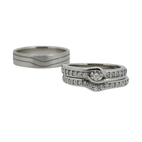 Palladium Wedding Ring Set