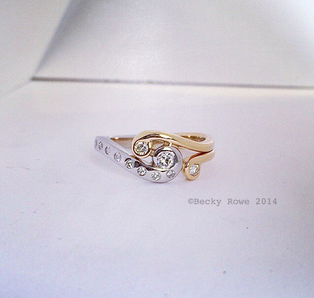 Gold and Diamond Wave Ring