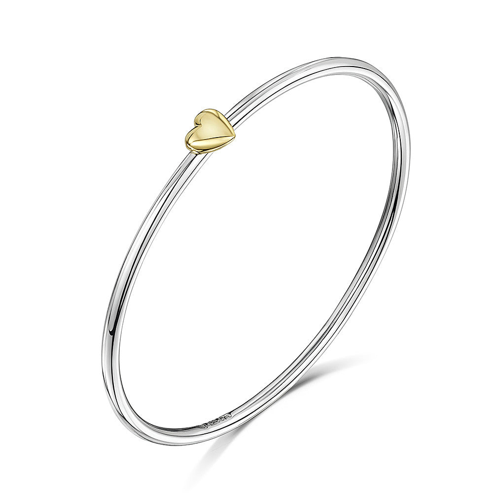 Smooth bangle with heart charm