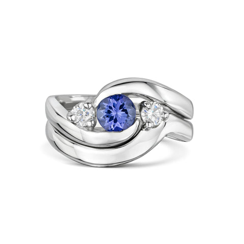 'You Complete Me' Tanzanite and Diamond Engagement and Wedding Ring Set