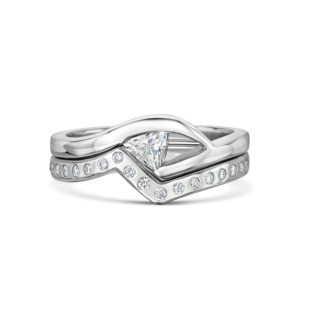 Trillion Diamond Engagement and Wedding Ring Set