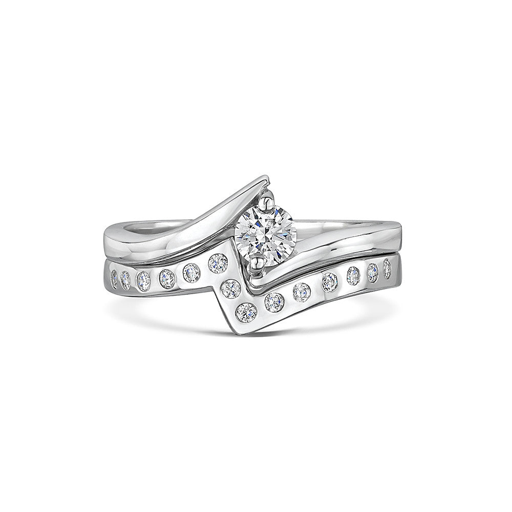 Point-to-Point Engagement & Wedding Ring Set