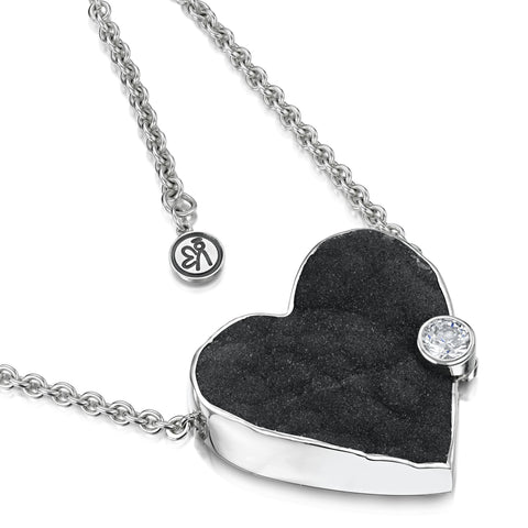 Druzy Heart Necklace with Cubic Zirconia