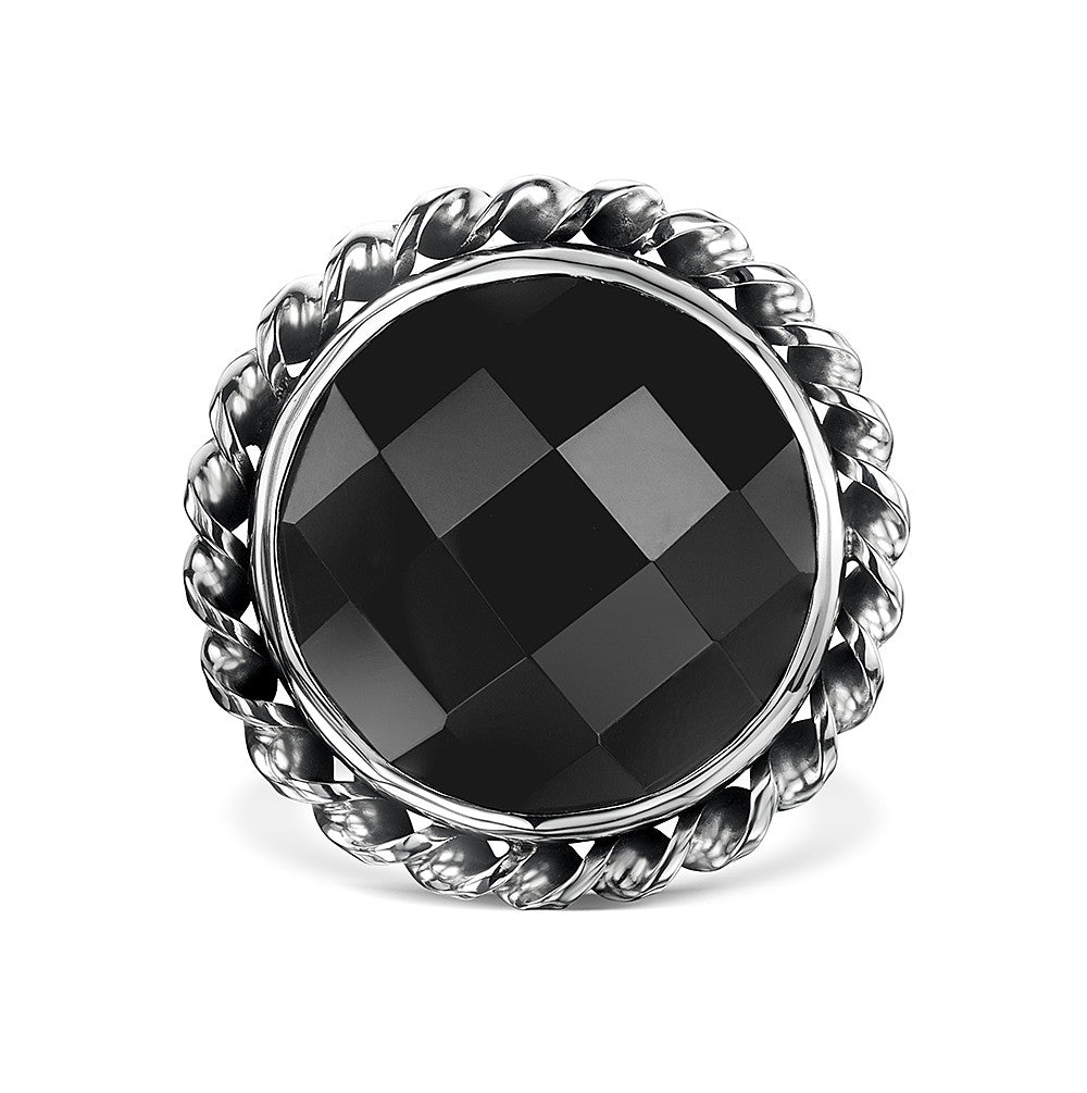 Checker Cut Flat Twist Ring