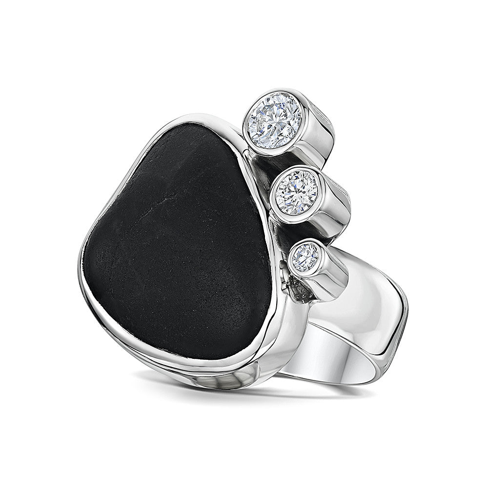 Pebble & CZ Ring