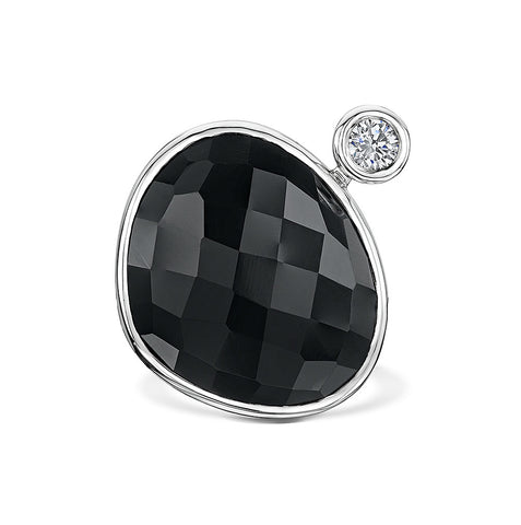 Checker Cut Onyx and Zirconia Ring