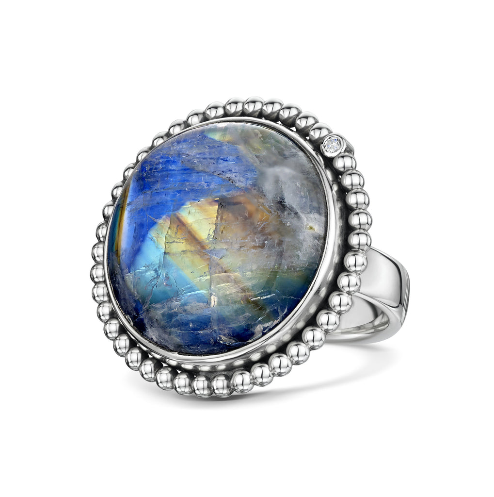 Moonstone with ball & diamond halo
