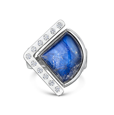 Moonstone & CZ Split Ring