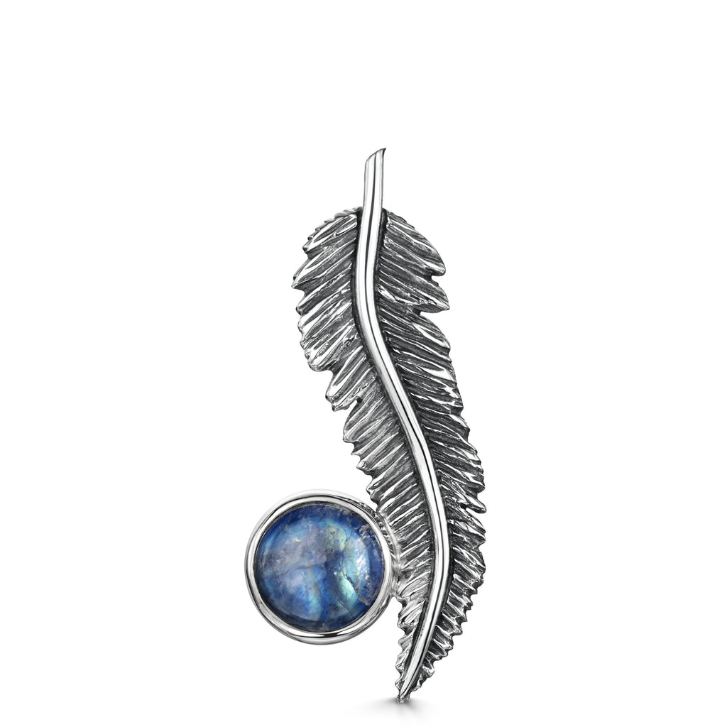 Feather Moonstone Brooch