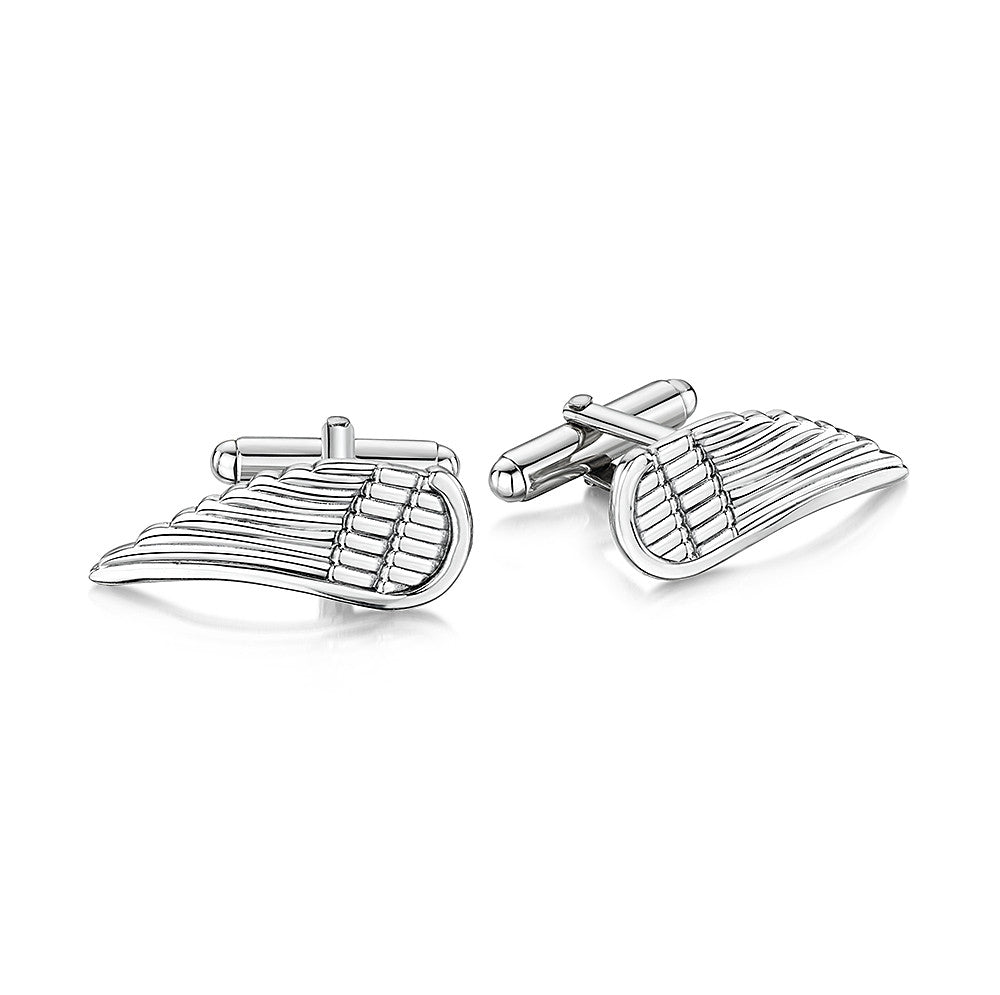 Silver Oxidised Angel Wing Cufflinks