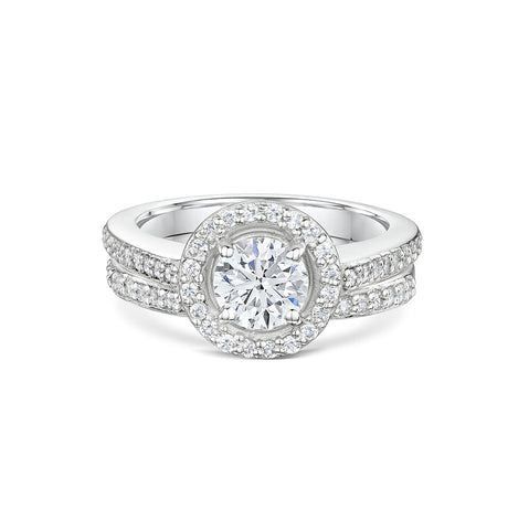 Halo Diamond Engagement and Wedding Ring Set