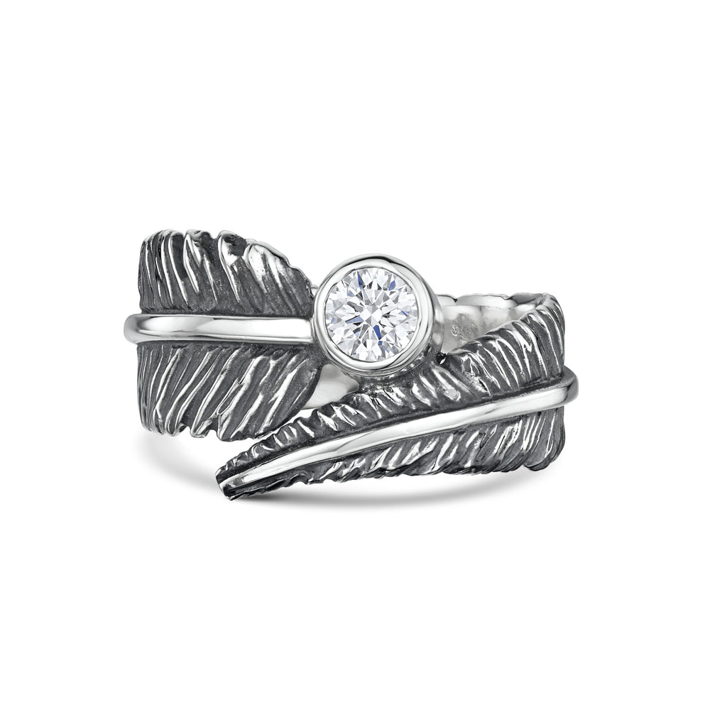 Cubic Zirconia Feather Silver Ring