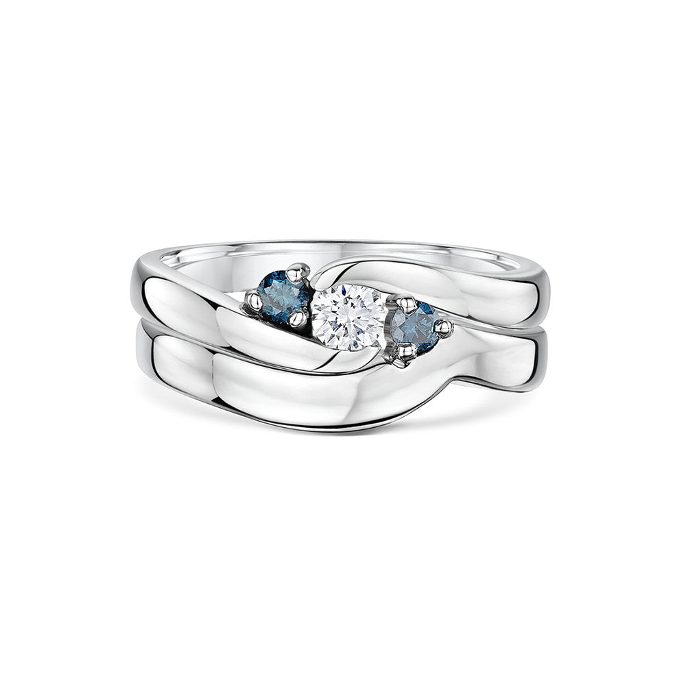 'You Complete Me' Wave Engagement and Wedding Ring Set