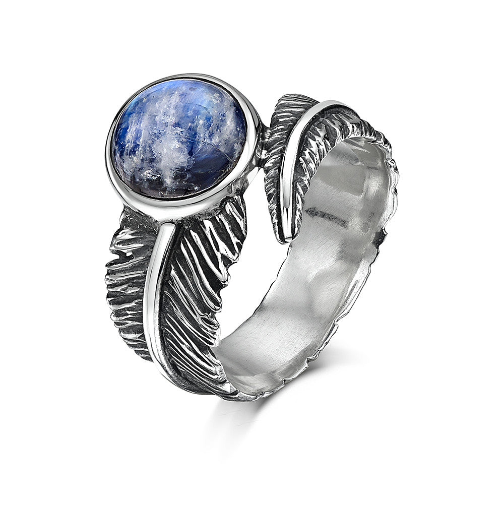 Moonstone Feather Silver Ring