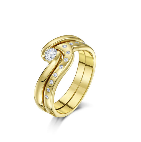 Wave Engagement & Wedding Ring Set