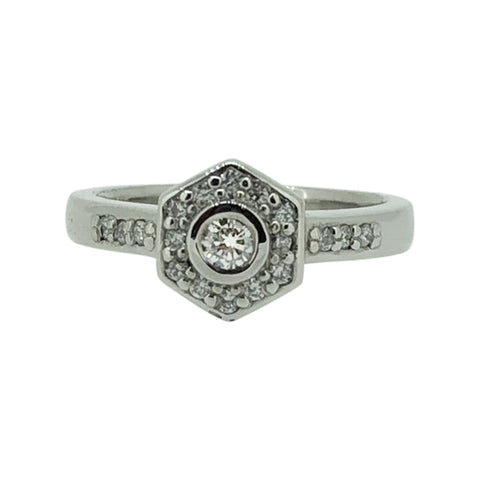 Palladium Hexagonal Engagement Ring