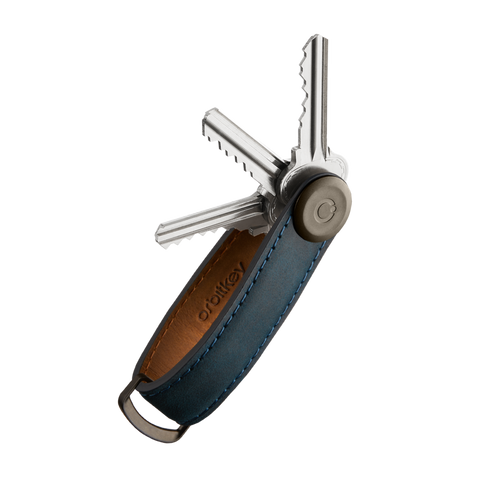 Key Oganiser Crazy-Horse - Marine Blue with Blue Stitching
