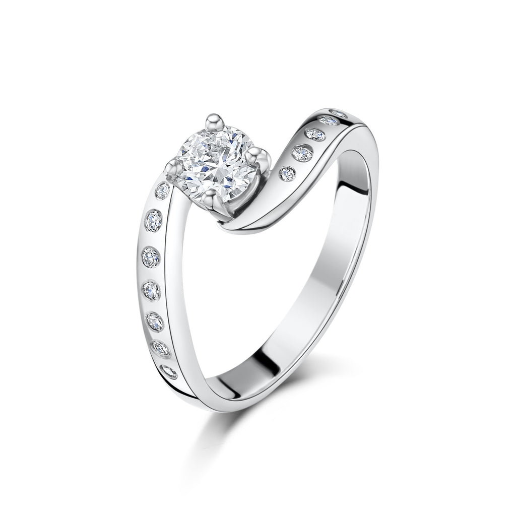Hummingbird Diamond Engagement Ring (stone-set shoulders)