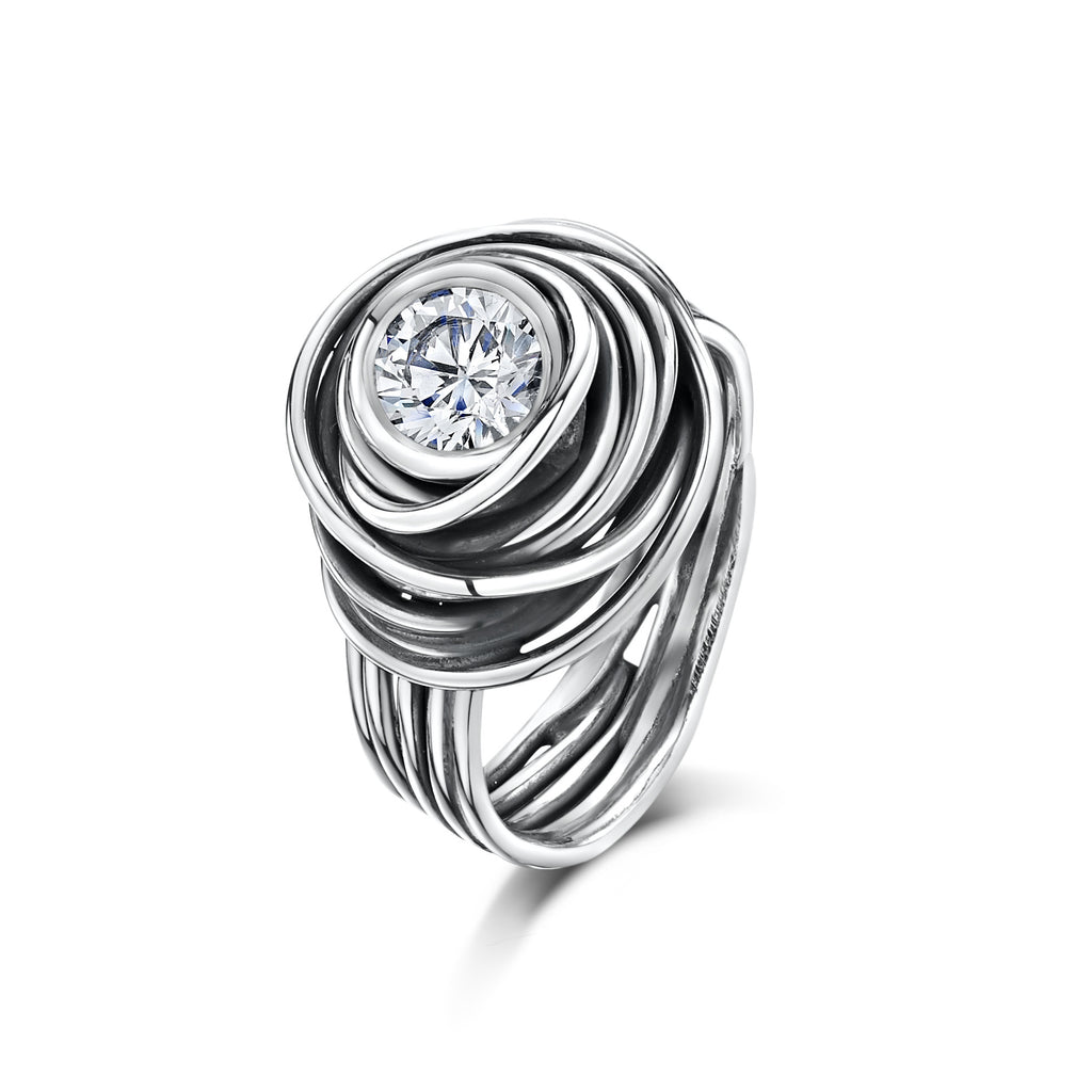 Beautiful Mess Zirconia Spiral Ring