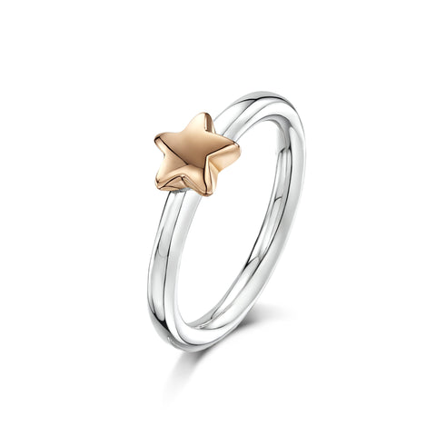 Tiny Star Charm on Silver Ring