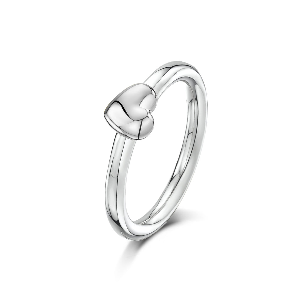 Tiny Heart Charm on Silver Ring