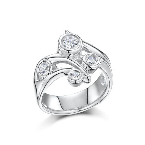 Chunky Sterling Silver Multi-Zirconia Ring (R41)