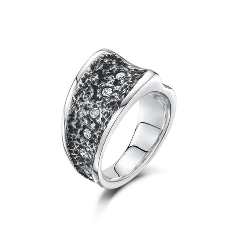 Chunky Silver Contrast Cubic Zirconia Ring (R15A)