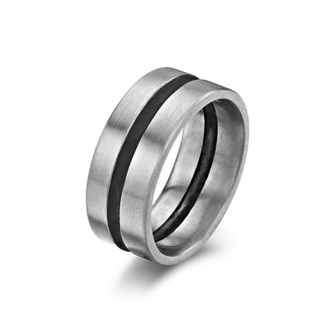 Palladium & Oxi Silver Wedding Band