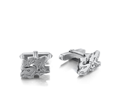 Silver Initial Cuff Links