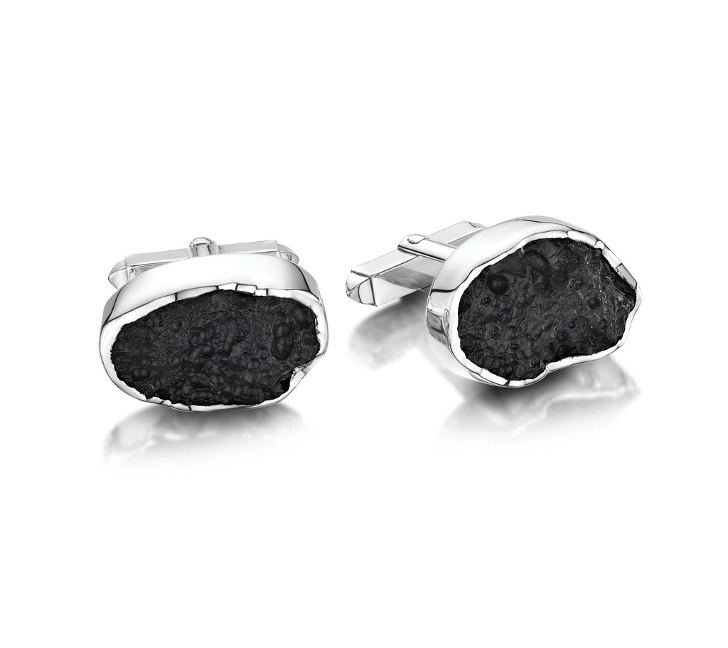 Silver & Obsidian Cuff Links
