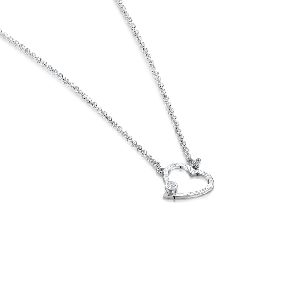 Bark Finish Flat Open Heart Necklace