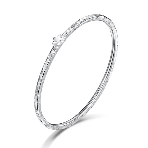 3mm Beaten Bangle with Tiny Star