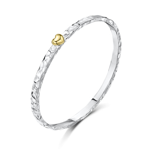 5mm Beaten Bangle with Tiny Heart
