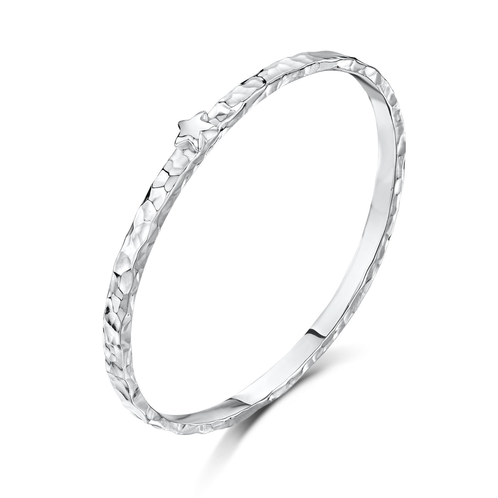 5mm Beaten Bangle with Tiny Star