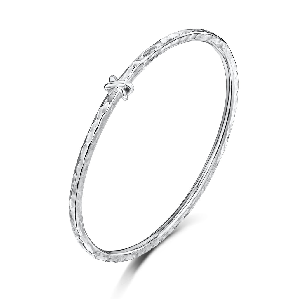 Sterling Silver 3mm Beaten Bangle with Kiss Bead