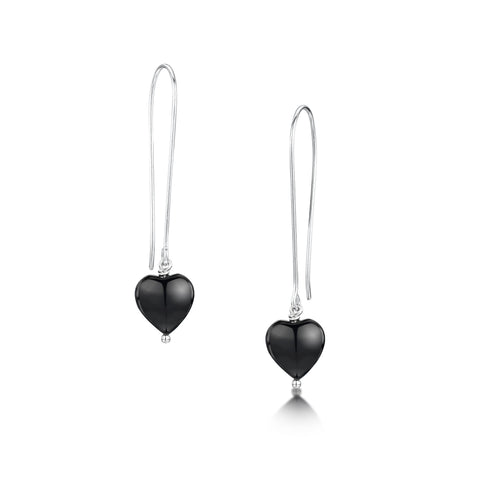 Black Onyx Heart Earrings
