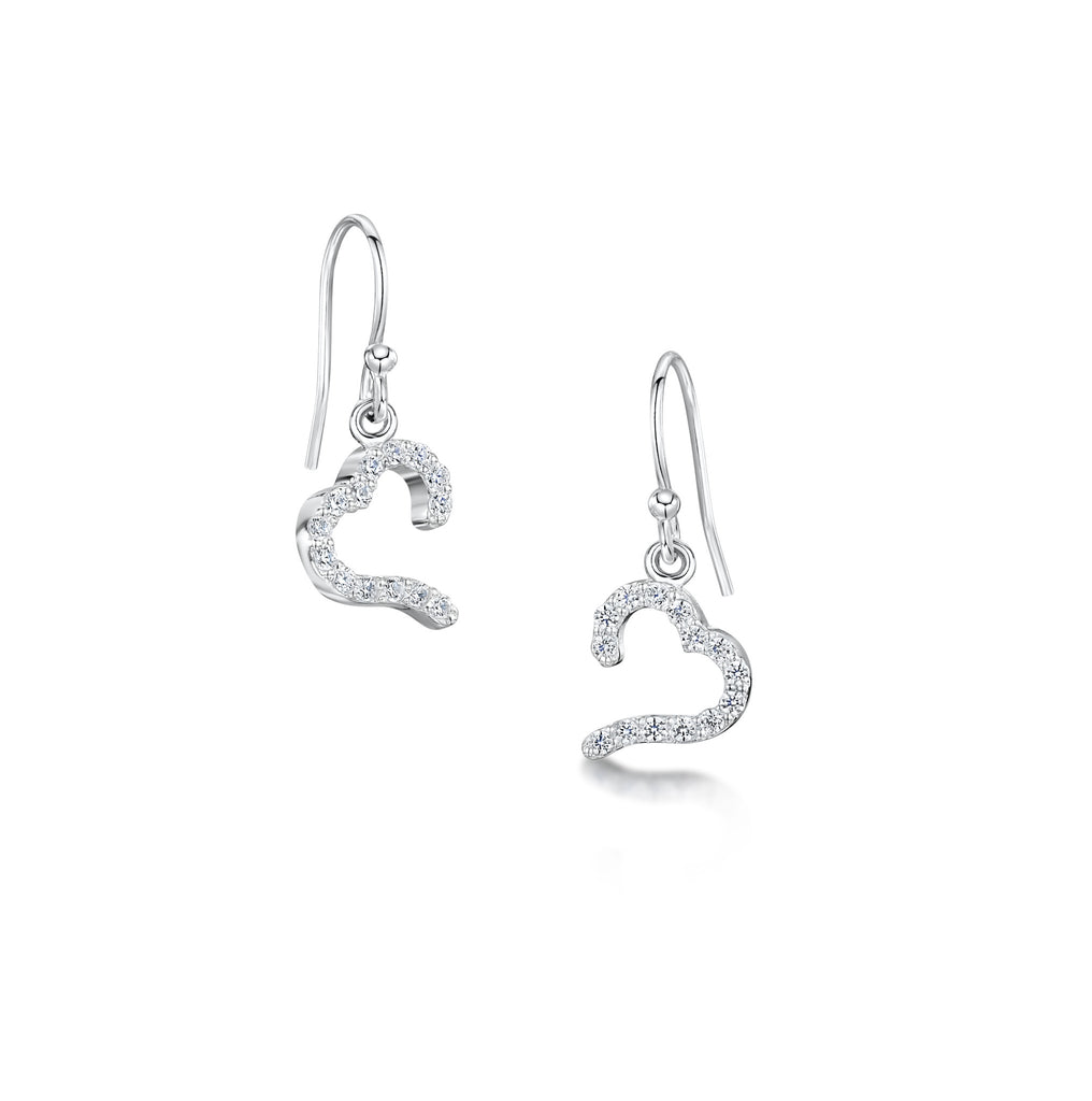 Claw Set Open Heart Earrings