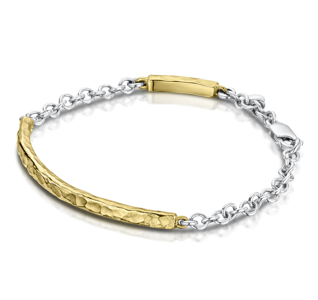 Beaten Bangle & Chain Bracelet