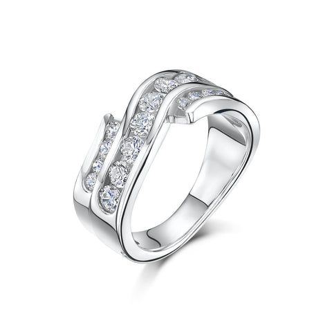 Sterling silver 3 Wave Cubic Zirconia Ring