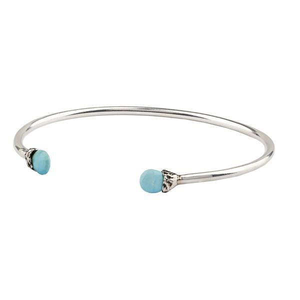 Pyrrha Friendship Turquoise Capped Attraction Charm Open Bangle