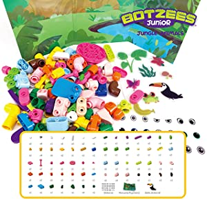 Soft silicone pieces, blocks with rounded corners, and brightly colored pieces provide a safe and fun learning experience. - Botzees Junior - Jungle Animals