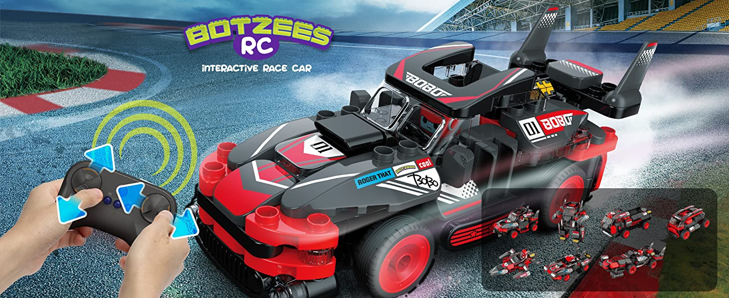 BOTZEES 8-IN-1 Easy Building & RC & Interactive RC Race Car